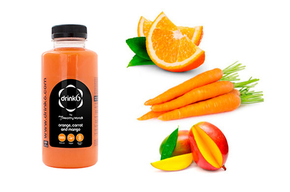 JUS : Orange, carotte et mangue }}